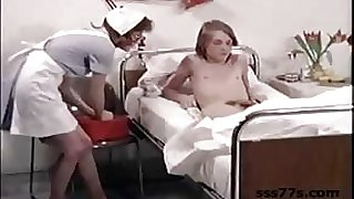 Young guy gets sucked off and fucked in this group orgy in a vintage porno with nurses...