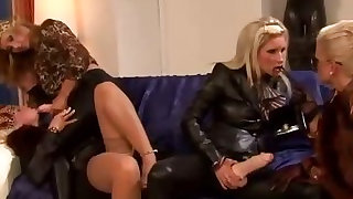 Bukkake lesbians sucking strapon and wanting cum